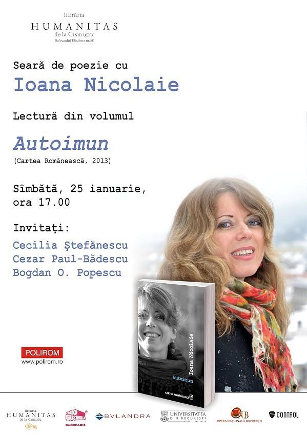 "Ioana Nicolaie – lectura publica din volumul ""Autoimun"", la Humanitas"